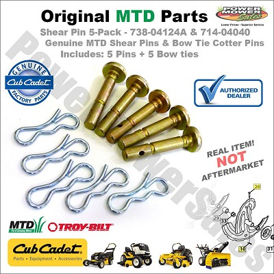 Genuine Cub Cadet Replacement Shear Pins & Cotter Pins For Snowblowers / 5 Pack / 738-04124a, 738-04124